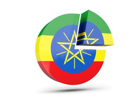 national flag ethiopia: Flag of ethiopia, round diagram icon isolated on white. 3D illustration