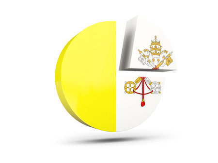 Flag of vatican city, round diagram icon isolated on white. 3D illustration Stock Photo