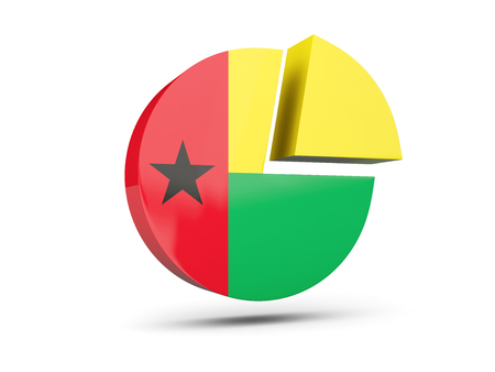 Flag of guinea bissau, round diagram icon isolated on white. 3D illustration
