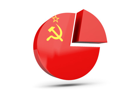 Flag of ussr, round diagram icon isolated on white. 3D illustration
