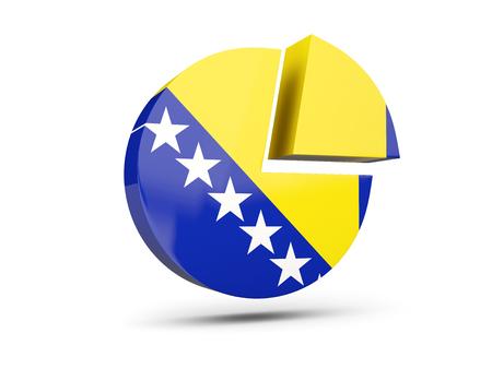 Flag of bosnia and herzegovina, round diagram icon isolated on white. 3D illustration