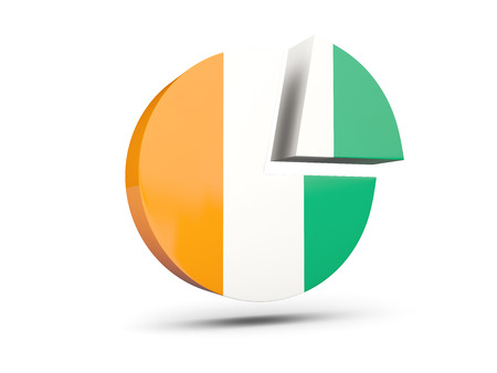Flag of cote d Ivoire, round diagram icon isolated on white. 3D illustration
