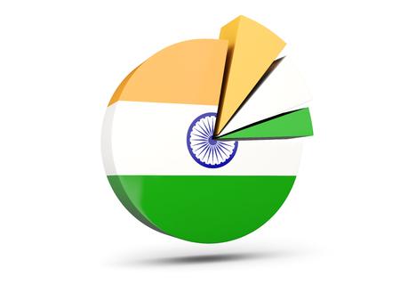 Flag of india, round diagram icon isolated on white. 3D illustration Stock Photo