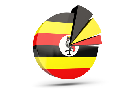 Flag of uganda, round diagram icon isolated on white. 3D illustration Stock Photo