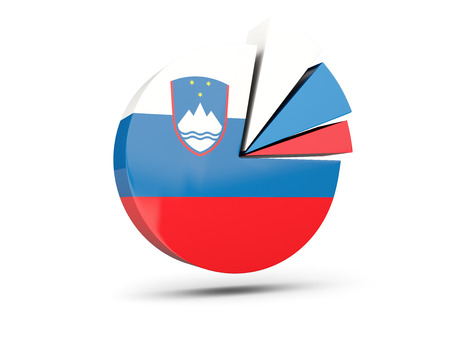 Flag of slovenia, round diagram icon isolated on white. 3D illustration
