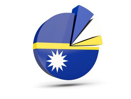 Flag of nauru, round diagram icon isolated on white. 3D illustration