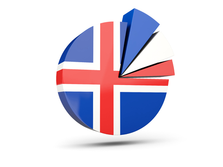 Flag of iceland, round diagram icon isolated on white. 3D illustration Stock Photo