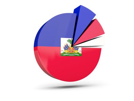 Flag of haiti, round diagram icon isolated on white. 3D illustration Stock Photo