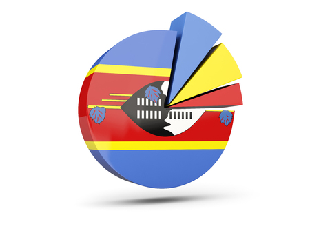 Flag of swaziland, round diagram icon isolated on white. 3D illustration