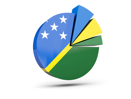 Flag of solomon islands, round diagram icon isolated on white. 3D illustration Stock Photo
