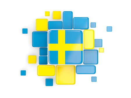 Flag of sweden, mosaic background with square parts. 3D illustration
