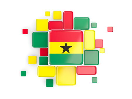 Flag of ghana, mosaic background with square parts. 3D illustration
