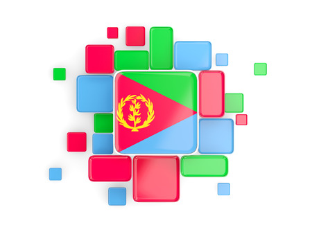 eritrea: Flag of eritrea, mosaic background with square parts. 3D illustration