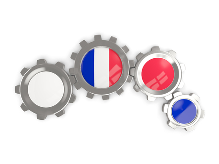 Flag of france, metallic gears with colors of the flag isolated on white. 3D illustration