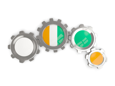 Flag of cote d Ivoire, metallic gears with colors of the flag isolated on white. 3D illustration