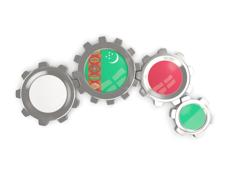 turkmenistan: Flag of turkmenistan, metallic gears with colors of the flag isolated on white. 3D illustration