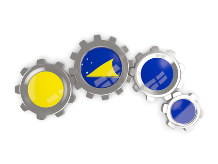 tokelau: Flag of tokelau, metallic gears with colors of the flag isolated on white. 3D illustration Stock Photo