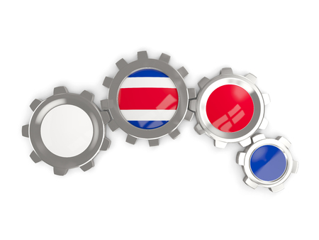 Flag of costa rica, metallic gears with colors of the flag isolated on white. 3D illustration