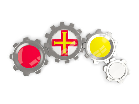 guernsey: Flag of guernsey, metallic gears with colors of the flag isolated on white. 3D illustration Stock Photo