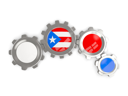 bandera de puerto rico: Flag of puerto rico, metallic gears with colors of the flag isolated on white. 3D illustration