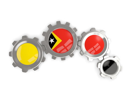 timor: Flag of east timor, metallic gears with colors of the flag isolated on white. 3D illustration