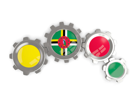 Flag of dominica, metallic gears with colors of the flag isolated on white. 3D illustration