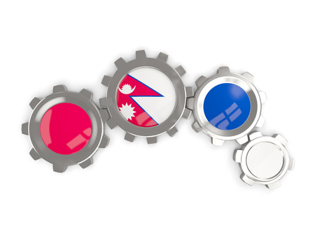 Flag of nepal, metallic gears with colors of the flag isolated on white. 3D illustration