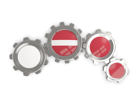 Flag of latvia, metallic gears with colors of the flag isolated on white. 3D illustration