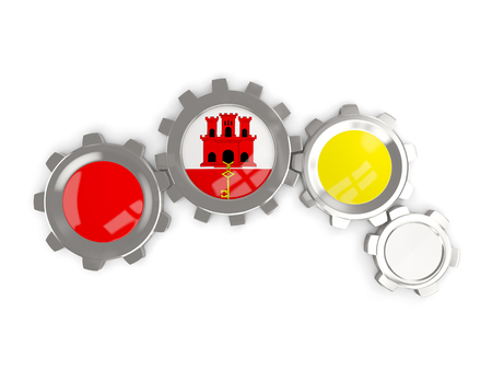 Flag of gibraltar, metallic gears with colors of the flag isolated on white. 3D illustration Stock Photo