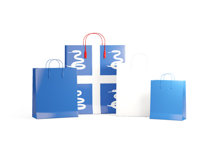 martinique: Flag of martinique on shopping bags. 3D illustration