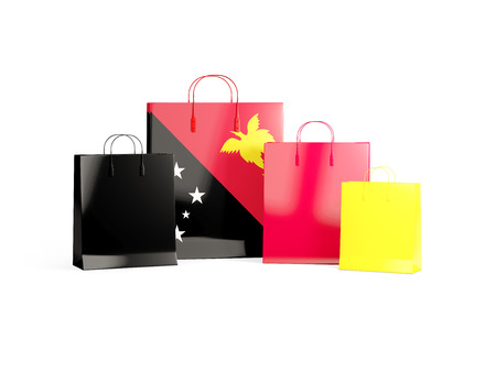 shoping bag: Flag of papua new guinea on shopping bags. 3D illustration