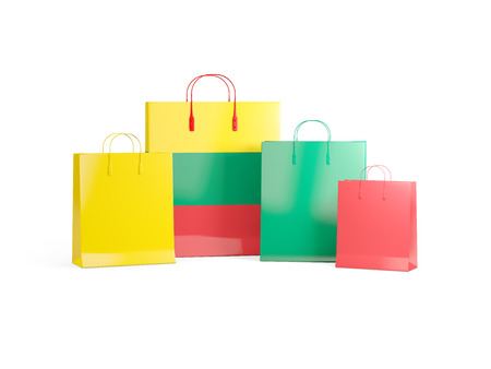 Flag of lithuania on shopping bags. 3D illustration Stock Photo