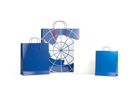 antarctica: Flag of antarctica on shopping bags. 3D illustration Stock Photo