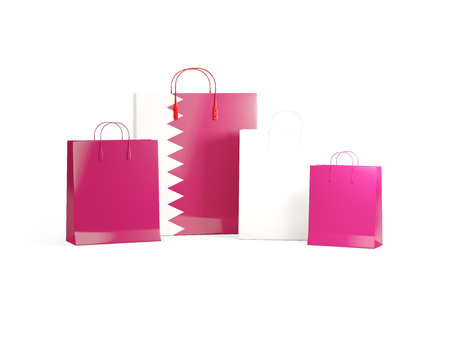 shoping bag: Flag of qatar on shopping bags. 3D illustration