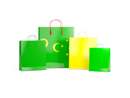 cocos: Flag of cocos islands on shopping bags. 3D illustration