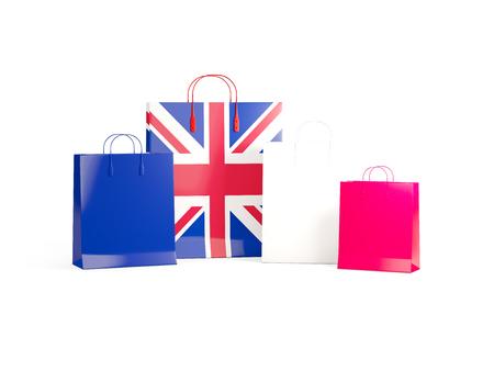 Flag of united kingdom on shopping bags. 3D illustration Stock Photo