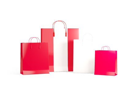 shoping bag: Flag of peru on shopping bags. 3D illustration