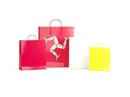 shoping bag: Flag of isle of man on shopping bags. 3D illustration Stock Photo