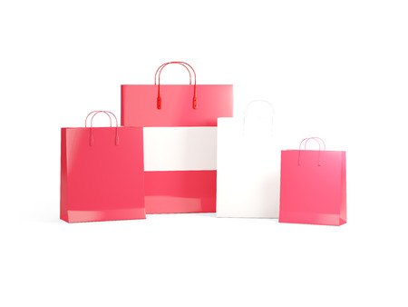 shoping bag: Flag of austria on shopping bags. 3D illustration