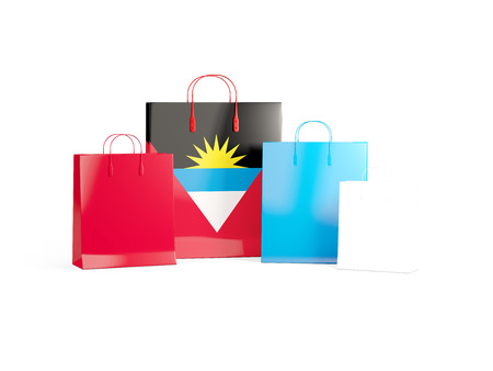 antigua: Flag of antigua and barbuda on shopping bags. 3D illustration