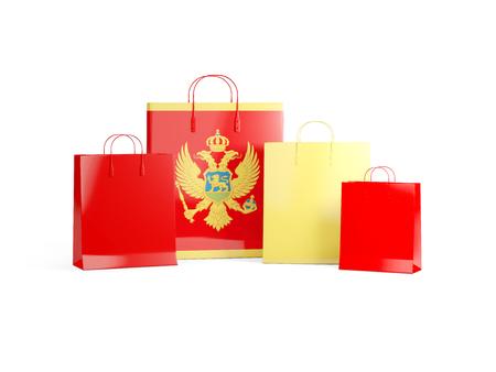 Flag of montenegro on shopping bags. 3D illustration