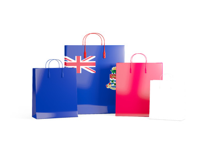 cayman islands: Flag of cayman islands on shopping bags. 3D illustration Stock Photo