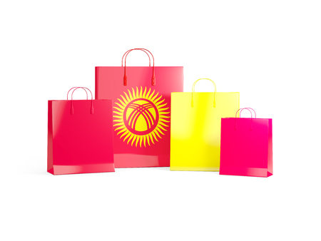 Flag of kyrgyzstan on shopping bags. 3D illustration