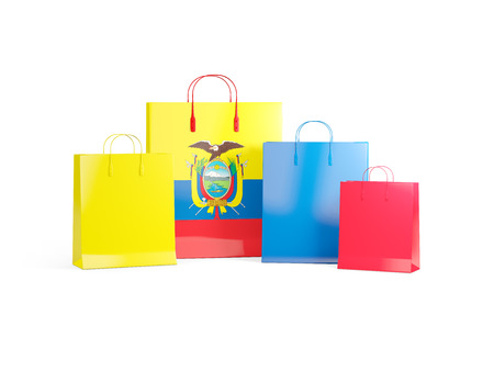 shoping bag: Flag of ecuador on shopping bags. 3D illustration