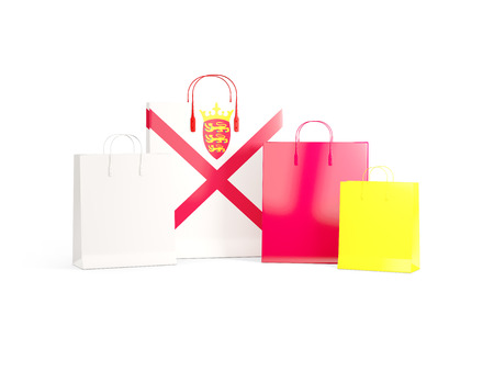 shoping bag: Flag of jersey on shopping bags. 3D illustration