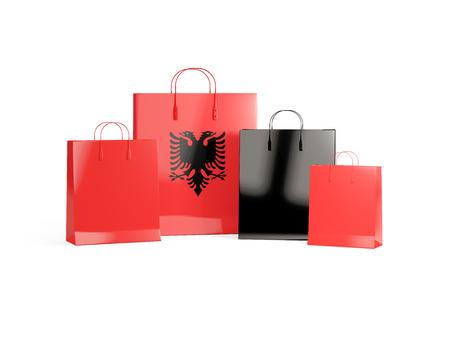 albania: Flag of albania on shopping bags. 3D illustration