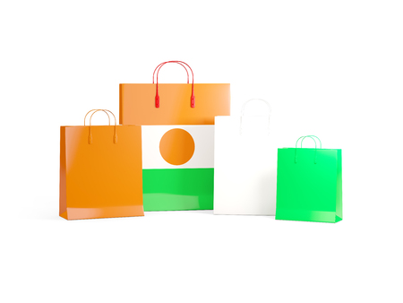 niger: Flag of niger on shopping bags. 3D illustration