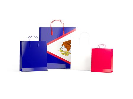 Flag of american samoa on shopping bags. 3D illustration