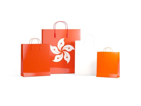 Flag of hong kong on shopping bags. 3D illustration