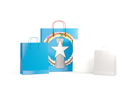 mariana: Flag of northern mariana islands on shopping bags. 3D illustration